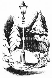 The lamp post in Narnia, The Lion, The Witch and The Wardrobe by C S Lewis, illustrated by Pauline Baynes